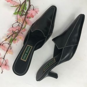 Cole Haan Black Leather Pumps 8.5 B Mules Heels